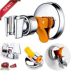 Adjustable Shower Arm Wall Mount Chrome Suction Cup Holder Shower Head Bathroom  #HEAD