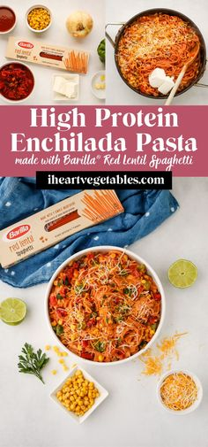 #ad This delicious Enchilada Pasta recipe is a yummy pasta dish with plenty of spicy flavor. Made with Barilla® Red Lentil Spaghetti, this vegetarian main dish is packed with 13g of protein and fiber! Purchase at Kroger today! Healthy Pasta Recipes, Healthy Pastas, Vegetarian Main Dishes, Vegetarian Recipes, Enchilada Pasta, Creamy Pasta Dishes, Lentil Pasta, One Pot Pasta, Homemade Pasta