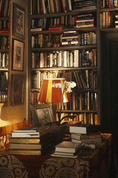 Library- warm, cozy and wonderfully layered -from Lonny.com