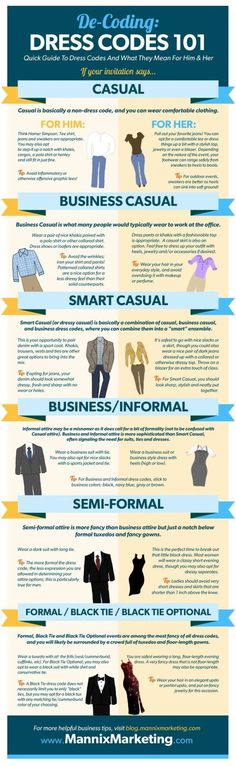 Dress Code 101 - guide for how women and men should dress for casual, business casual, smart casual, business / informal wear, semi formal, and formal / black tie events
