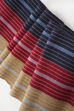 Aso-oke Woven Fabric Strip Fabric Blue Dark Red & by Urbanstax