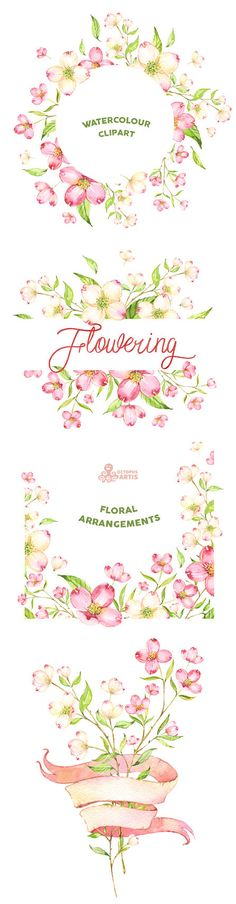 Flowering. Watercolour arrangements templates frames