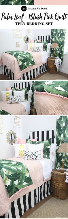Perfectly pretty in PALM Beach. This gotta-have-it palm tree leaf fabric is simply spectacular. Stripes, pastel pinks, and Dalmatian prints…this bold yet beautiful set would look beautiful in your teen girl bedroom. Teen Bedding Sets, Teen Girl Bedding, Dorm Room Bedding, Teen Girl Bedrooms, Beach Bedding, Bedroom Green, Bedroom Colors, Home Decor Bedroom, Bedroom Ideas