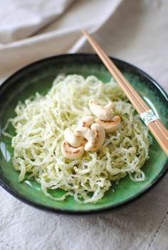 Kelp noodles with vegan broccoli pesto!! Can't wait to make this! Kelp noodles are amazing!!