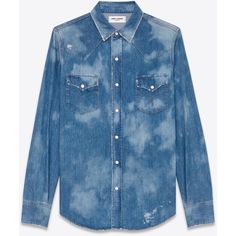 Saint Laurent Repaired Western Shirt ($560) ❤ liked on Polyvore featuring men's fashion, men's clothing, men's shirts, men's casual shirts, mens distressed shirt, mens ripped shirts, mens western denim shirt, mens stitch shirt and mens cowboy shirts