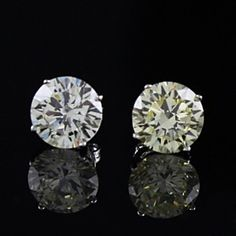 2.00 CT Yellow Colored VVS1 Diamond 14K Gold Solitaire Stud Earrings by JewelryHub on Opensky