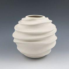 Carved Modern Sculptural Ceramic Vessel