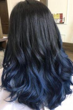 Light Blue Ombre Hair, Dark Purple Hair, Brown Ombre Hair, Ombre Hair Color, Hair Color For Black Hair, Black To Blue Ombre, Dyed Hair Blue, Hair Dye, Blue Hair Highlights