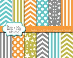 digital scrapbook papers - orange, blue, green and gray chevron, stars, stripes and polka dots - INSTANT DOWNLOAD