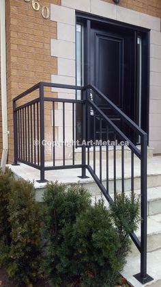 New Front Porch Stairs Ideas Iron Railings Ideas can find Railings and more on our website.New Front Porch Stairs Ideas Iron Railings Ideas Exterior Stair Railing, Outdoor Stair Railing, Wrought Iron Stair Railing, Balcony Railing Design, Stair Handrail, Balustrade Inox, Balustrade Balcon, Balustrades, Front Porch Railings
