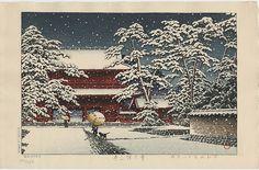 """Snow at Zojo Temple"" by Hasui, Kawase"