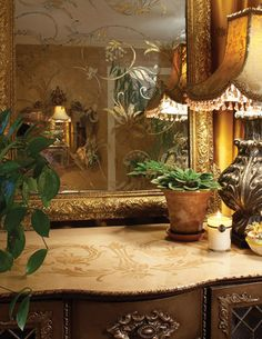 #hand patinated and patterned mirror/# stenciled dresser.....Flourish969