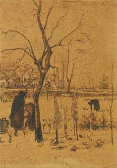 Vincent van Gogh: Parsonage Garden in the Snow with Three Figures  Nuenen: December, 1883 (Amsterdam, Van Gogh Museum)