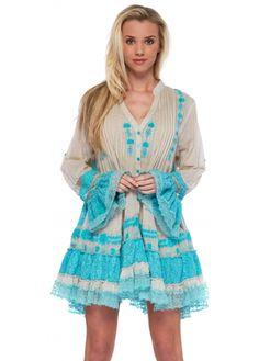 Antica Sartoria Turquoise Lace Embellished Kaftan Beach Dress