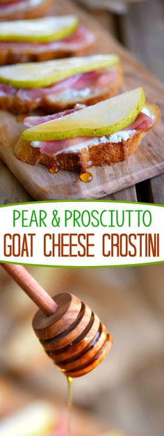 Get ready to thrill your taste buds with this amazing Pear and Prosciutto Goat Cheese Crostini! Delight your guests with this gorgeous appetizer at your next party! (party desserts plates)