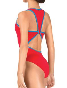Sporty Nylon/Spandex racerback tank leotard from the Mariia collection that features an open back cutout,contrasting trim and overlapping horizontal back strap. Open back creates cutouts when leotard is seen from the front and side. Leotard has a higher cut leg line and self fabric bodice lining.Mariia garments are known for exceptional quality and style. Leotard …