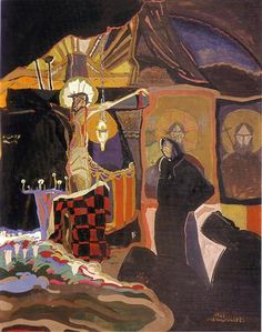 The Cross - Ivan Milev - Symbolism, Art Nouveau (Modern), 1923