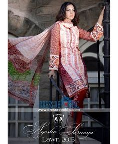 Embroidered Lawn Suits Collection 2015 By Ayesha Somaya Houston TX