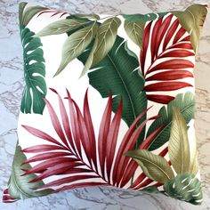 exotic leaf barkcloth cushion covers