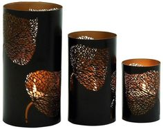 The DecMode Elm Leaf Candle Holder - Set of 3 is enhanced with a highly detailed laser-cut elm leaf design. This charming trio of candle holders has. Metal Lanterns, Candle Lanterns, Pillar Candles, Wall Ledge, Lantern Set, Laser Cut Metal, Rustic Irons, Metal Candle Holders, Decorative Objects