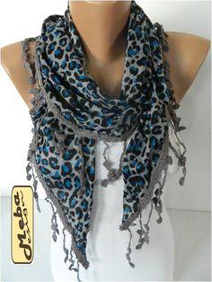 Leopard  Scarf   Triangular Shawl-gift Ideas For Her