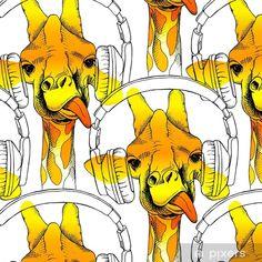 Papel Pintado Estándar Sin patrón con jirafas en los auriculares. ilustración vectorial - Animales Hipster, Tattoos, Giraffes, Ear Phones, Wall Papers, Cover Pages, Paper Envelopes, Animales, Hipster Stuff