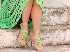 Too Cute!     Lime Barefoot Sandals, yellow green Crochet Nude shoes, Foot jewelry, Wedding, Victorian Lace, Sexy, Yoga, Bellydance, Beach Pool. €11,00, via Etsy.
