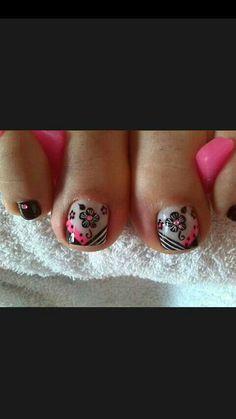 Nail Cute Pedicure Designs, Toe Nail Designs, Nail Polish Designs, Cute Toe Nails, Cute Nail Art, Beautiful Nail Art, Hello Nails, Painted Toe Nails, Pretty Pedicures