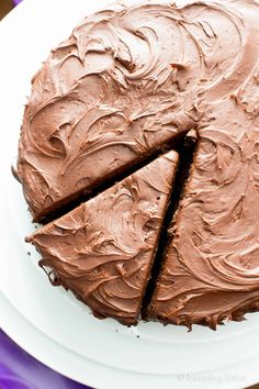 Vegan Chocolate Cake Recipe (V, GF): an easy recipe for supremely rich, perfectly moist chocolate cake covered in a delicious layer of irresistible chocolate frosting! Vegan Sweets, Healthy Sweets, Healthy Dessert Recipes, Cake Recipes, Vegan Recipes, Healthy Desserts, Vegan Food, Baking Recipes, Dairy Free Chocolate Cake