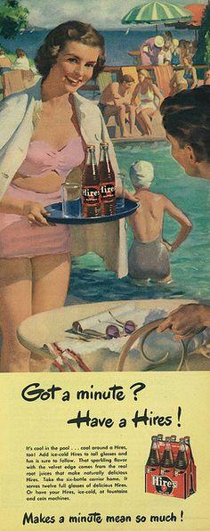Hires Root Beer ad, 1949. #vintage #1940s #food #drinks #ads