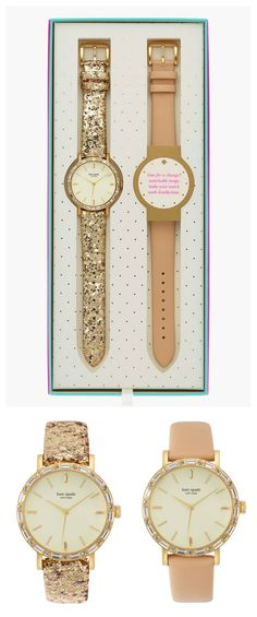 Fun party Kate Spade watches in pink and gold glitter. http://rstyle.me/n/te55wn2bn
