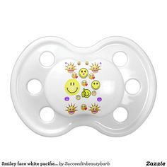 Smiley face white pacifier for baby's