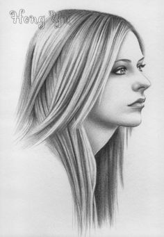 avril lavigne 4 by hong yu - Pencil Drawings by Leong Hong Yu