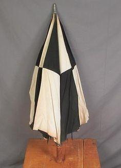 Vintage Antique Black & White Harlequin Umbrella Golf Large Checkered Theater