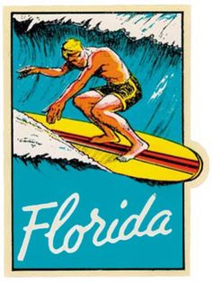 "#2747 Retro California Surfing Point Long Beach Luggage Label 2x3/"" DECAL STICKER"