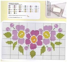 This Pin was discovered by Rem Cross Stitch Love, Cross Stitch Borders, Cross Stitch Flowers, Counted Cross Stitch Patterns, Cross Stitch Designs, Cross Stitching, Cross Stitch Embroidery, Stitch Cartoon, Tapestry Crochet