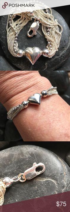 """Sterling silver 925 multi strand heart bracelet Darling heavy Sterling silver multi strand vintage 925 heart bracelet.   This bracelet measures 7"""" Vintage Jewelry Bracelets"""