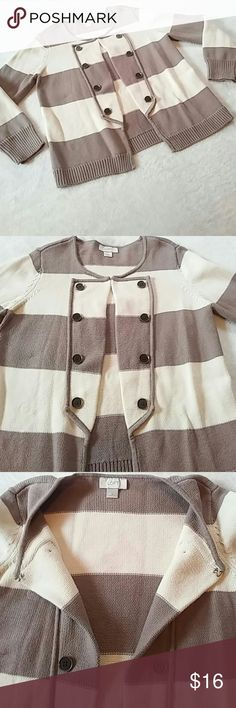 🆕Listing! Loft Open Front Sweater Cute open front sweater from the Loft! Striped in shades of cream and taupe with a hook and eye closure. Detailed front design with decorative buttons running down both sides. 100% thick cotton. EUC. LOFT Sweaters Cardigans