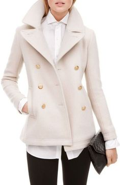 J.Crew Majesty Bone White Peacoat ♡ L.O.V.E.