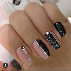 One of the most popular nail art is black manicure and is popular among girls and women of different ages. Black manicure is suits any style Black Nail Designs, Nail Art Designs, Nails Design, Black Nails, Pink Nails, Black Manicure, Black Glitter, Glitter Nails, Cute Nails