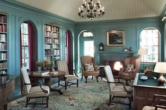 Wall trim and color eclectic-traditional-office-and-study-penobscot-bay-me-by-jayne-design-studio