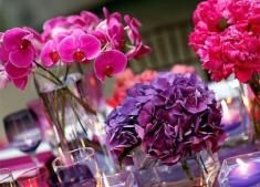 How Can Tulle be Used in Decor??? : wedding centerpiece decor fuchsia pink purple red tulle 3Purples2
