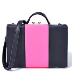 SMALL BLACK AND ORANGE OR BLUE AND FUCHSIA CROSSBODY LEATHER BAG