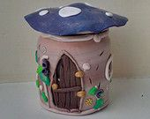 Gnome Home with Welcoming Fireplace Polymer Clay Decorated Jar with Flameless Tea Light Candle