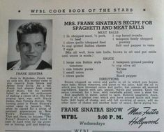 Frank Sinatra's Italian Tomato Sauce and Meatballs Frank Sinatra Dolly SInatra's Recipe for Spaghetti and Meatballs Retro Recipes, Old Recipes, Vintage Recipes, Cooking Recipes, Recipies, Old Italian Recipes, Czech Recipes, Russian Recipes, Almond Recipes