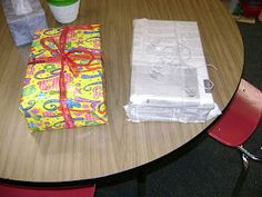 Character education -- one is wrapped in pretty paper but has rocks inside, the other in newspaper with m's inside - don't judge a book by it's cover type lesson! Elementary School Counselor, Sunday School Lessons, Beginning Of School, Lessons For Kids, School Counseling, Elementary Schools, Preschool Lessons, Elementary Guidance Lessons, Kids Church Lessons