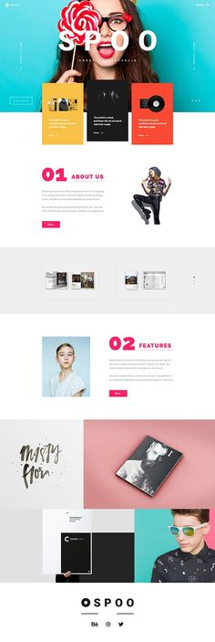 SPOO, Ui design concept for a creative portfolio website. Bright colors, clean look and big typography.