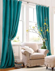 Turquoise window curtains in home decor - Little Piece Of Me