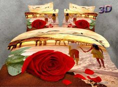 Couple Walking on Beach with Red Rose Printed Cotton Bedding Sets Queen Size Duvet Covers, Queen Bedding Sets, Luxury Bedding Sets, Duvet Cover Sets, Bedding And Curtain Sets, Cheap Bedding Sets, Affordable Bedding, Down Comforter Bedding, Comforter Sets