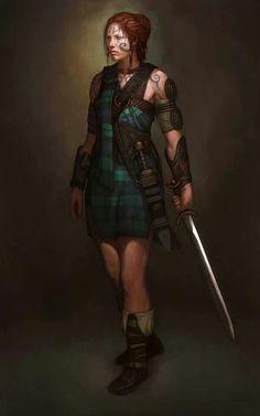 One way to wear the Ferguson tartan. Picts, Warrior Women, Viking Warrior Woman, Warrior Girl, Fantasy Rpg, Fantasy Warrior, Medieval Fantasy, Fantasy Fighter, Female Fighter